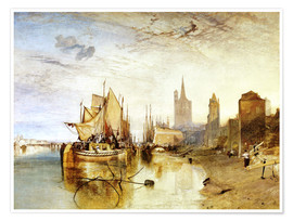 Premium poster Cologne, the arrival of a post boat