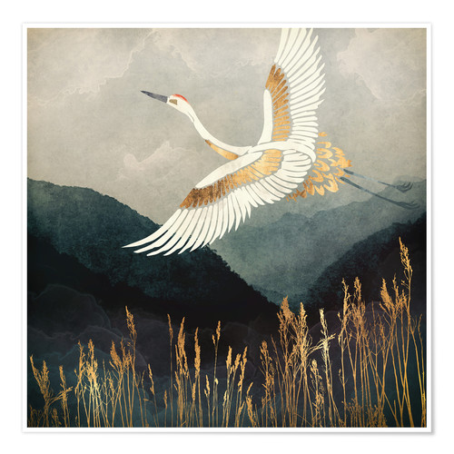 Premium poster Elegant Flight of a Crane