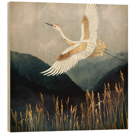Wood print  Elegant Flight of a Crane - SpaceFrog Designs
