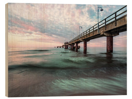 Wood print  Pier with seagulls II - Mario Benz