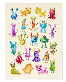 Premium poster Illustration of colorful monsters
