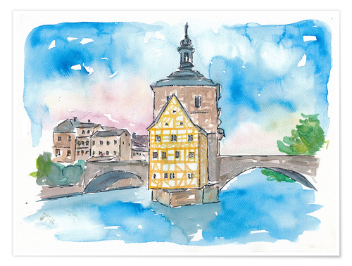Premium poster Bridge In Bamberg Bavaria with City Hall