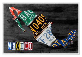 Premium poster  License Plate Map of Mexico - Design Turnpike