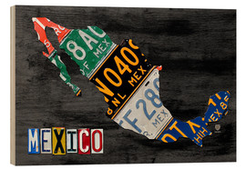 Wood print  License Plate Map of Mexico - Design Turnpike