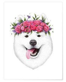 Premium poster Samoyed with flower wreath