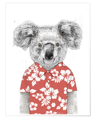 Premium poster Koala Bear with Hawaiian Shirt