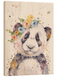 Wood print  Little panda - Sillier Than Sally