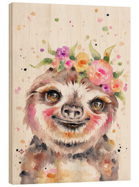 Wood print  Little Sloth - Sillier Than Sally