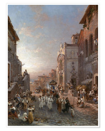 Premium poster Procession train in Naples