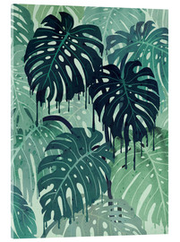 Acrylic glass  Monstera Melt (in Green) - littleclyde