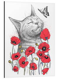Aluminium print  Cat in poppies - Nikita Korenkov