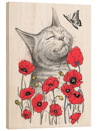 Wood print  Cat in poppies - Nikita Korenkov
