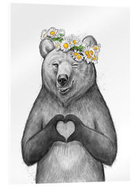 Acrylic print  Girl bear with heart - Nikita Korenkov