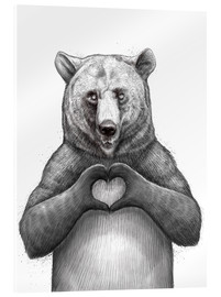 Acrylic print  Bear with heart - Nikita Korenkov