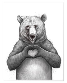 Premium poster  Bear with heart - Nikita Korenkov
