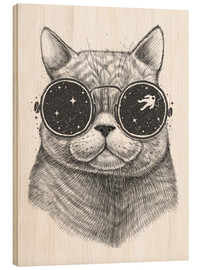 Wood print  Space cat - Nikita Korenkov