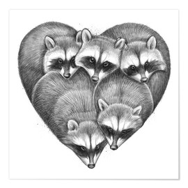 Premium poster Heart from raccoons