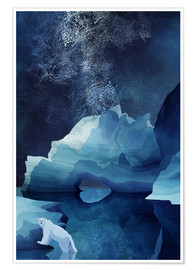Premium poster  Polar bear at night - Goed Blauw