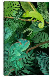 Canvas print  Chameleons in the Foliage - Goed Blauw
