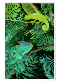 Premium poster Chameleons in the Foliage