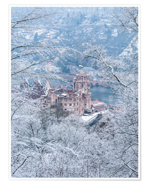 Premium poster Castle in the snow, Heidelberg, Baden-Wurttemberg, Germany
