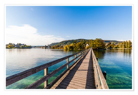 Premium poster Bridge to the monastery Werd on Lake Constance in Switzerland