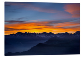 Acrylic print  Colorful sky at sunset over the Alps - Fabio Lamanna