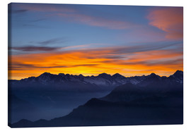 Canvas  Colorful sky at sunset over the Alps - Fabio Lamanna