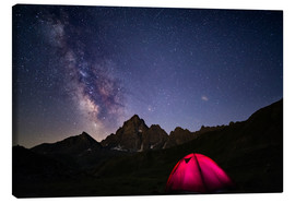 Fabio Lamanna - Glowing camping tent under starry sky on the Alps