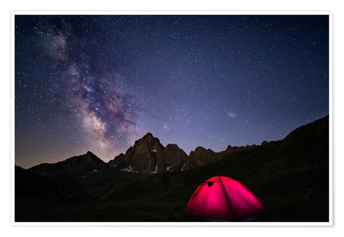 Premium poster Glowing camping tent under starry sky on the Alps
