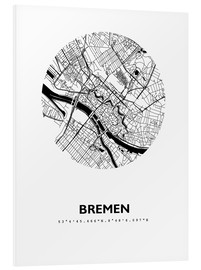 Foam board print  City map of Bremen - 44spaces