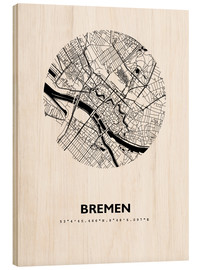Wood print  City map of Bremen - 44spaces