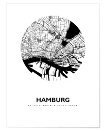 Premium poster  City map of Hamburg - 44spaces