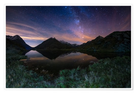 Premium poster The Milky Way Galaxy reflected on alpine lake