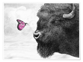 Premium poster Bison And Butterfly