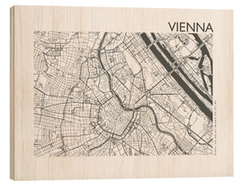 Wood print  City map of Vienna - 44spaces