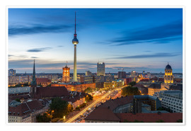 Premium poster Berlin skyline sunset