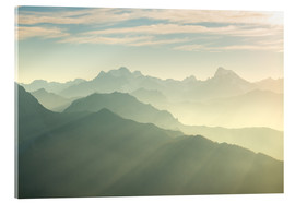 Acrylic print  Sunlight behind mountain peaks silhouette, the Alps - Fabio Lamanna