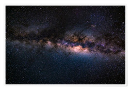 Poster The Milky Way galaxy, details of the colorful core.