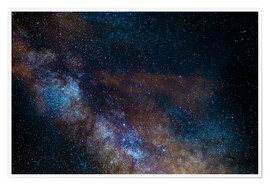 Poster The Milky Way galaxy, details of the colorful core