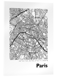 Acrylic print  Map of Paris - 44spaces