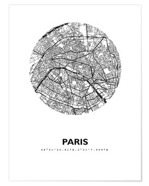 Premium poster  Map of Paris - 44spaces