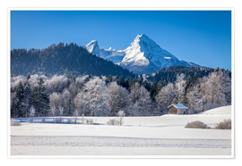 Premium poster Snowy mountains in Upper Bavaria