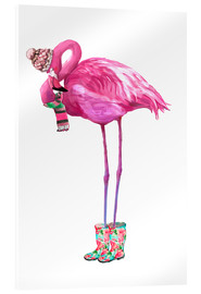 Acrylic print  Pink flamingo with rubber boots - Kidz Collection