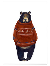 Poster  Mr. Bearr in Norwegian sweater - Kidz Collection