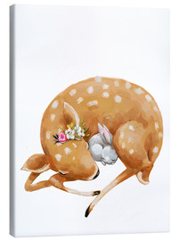 Canvas print  Fawn and baby bunny - Kidz Collection