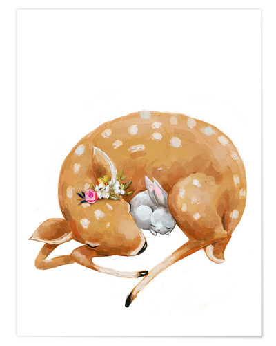 Premium poster Fawn and baby bunny