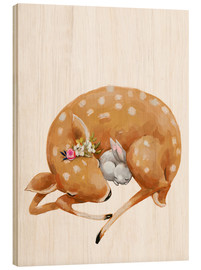Wood print  Fawn and baby bunny - Kidz Collection