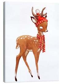 Canvas  Winter deer with scarf and hat - Kidz Collection