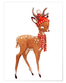 Premium poster Winter deer with scarf and hat